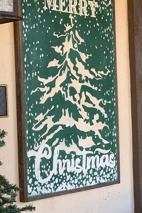 FLOCKED MERRY CHRISTMAS TREE