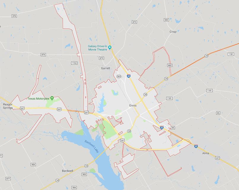 Ennis Texas Map Painters Service Area.jp
