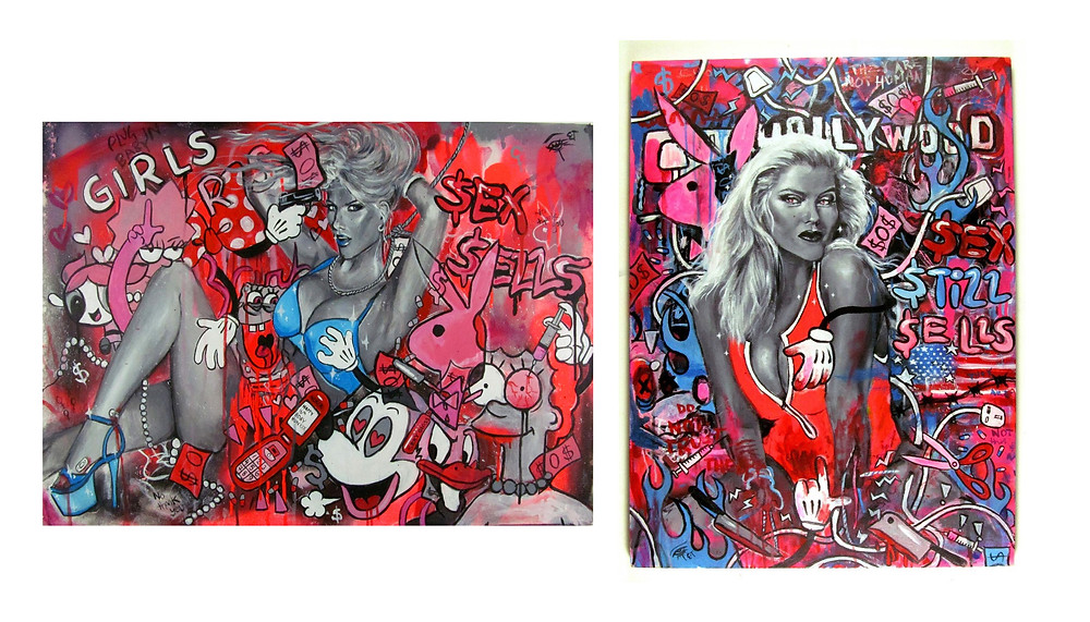 Ellie Turley 'Mickey Mouse's Slut Factory' and 'Playboy cyber-sex massacre' - (2019) Two part series Mixed Media on Canvas