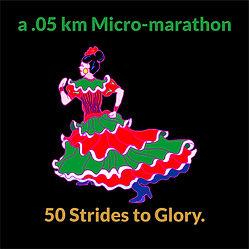 Cartoon of woman in a mexican dress running short race