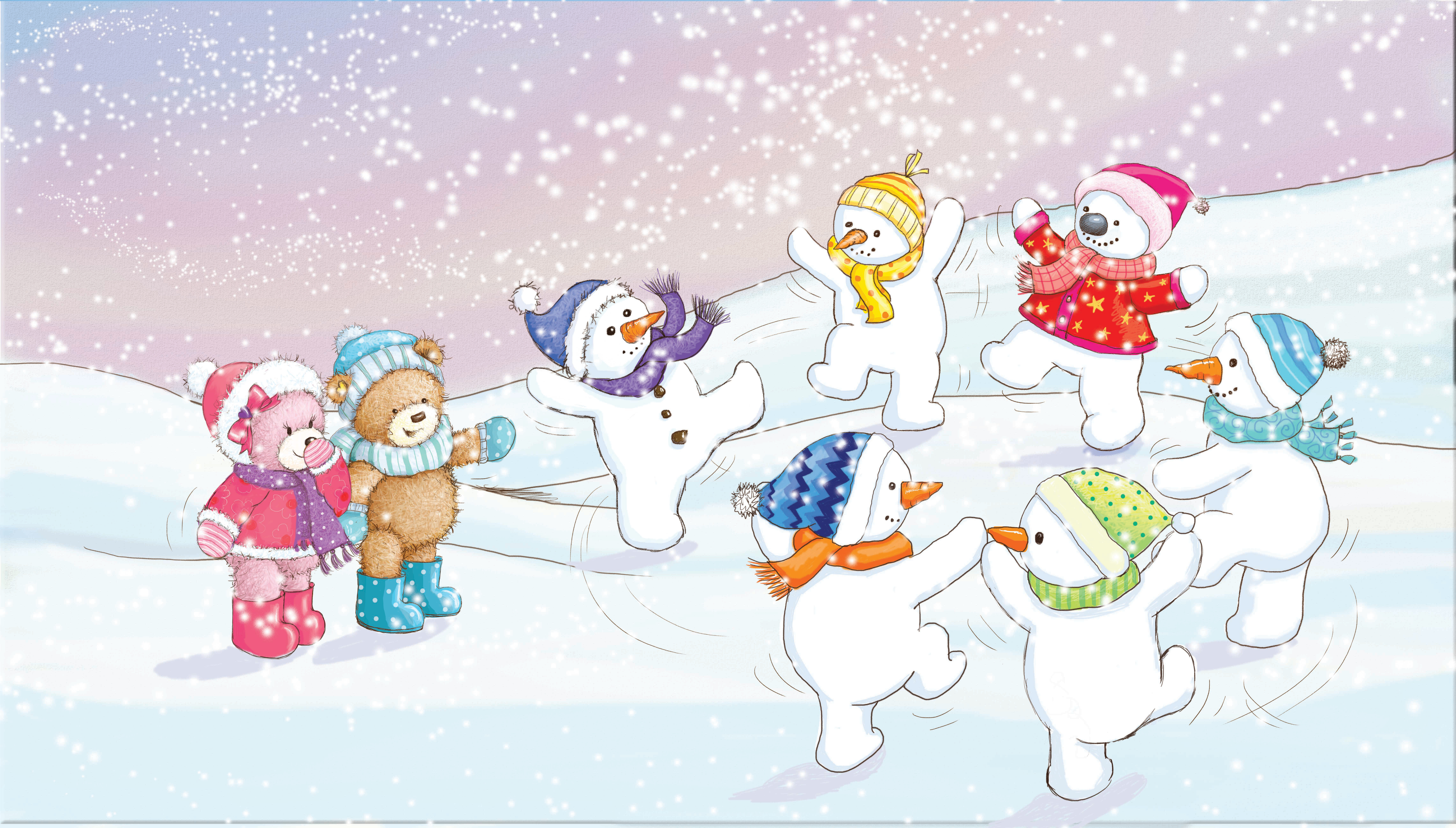 Popcorn the bear with dancing snowmen_gail yerrill_portfolio
