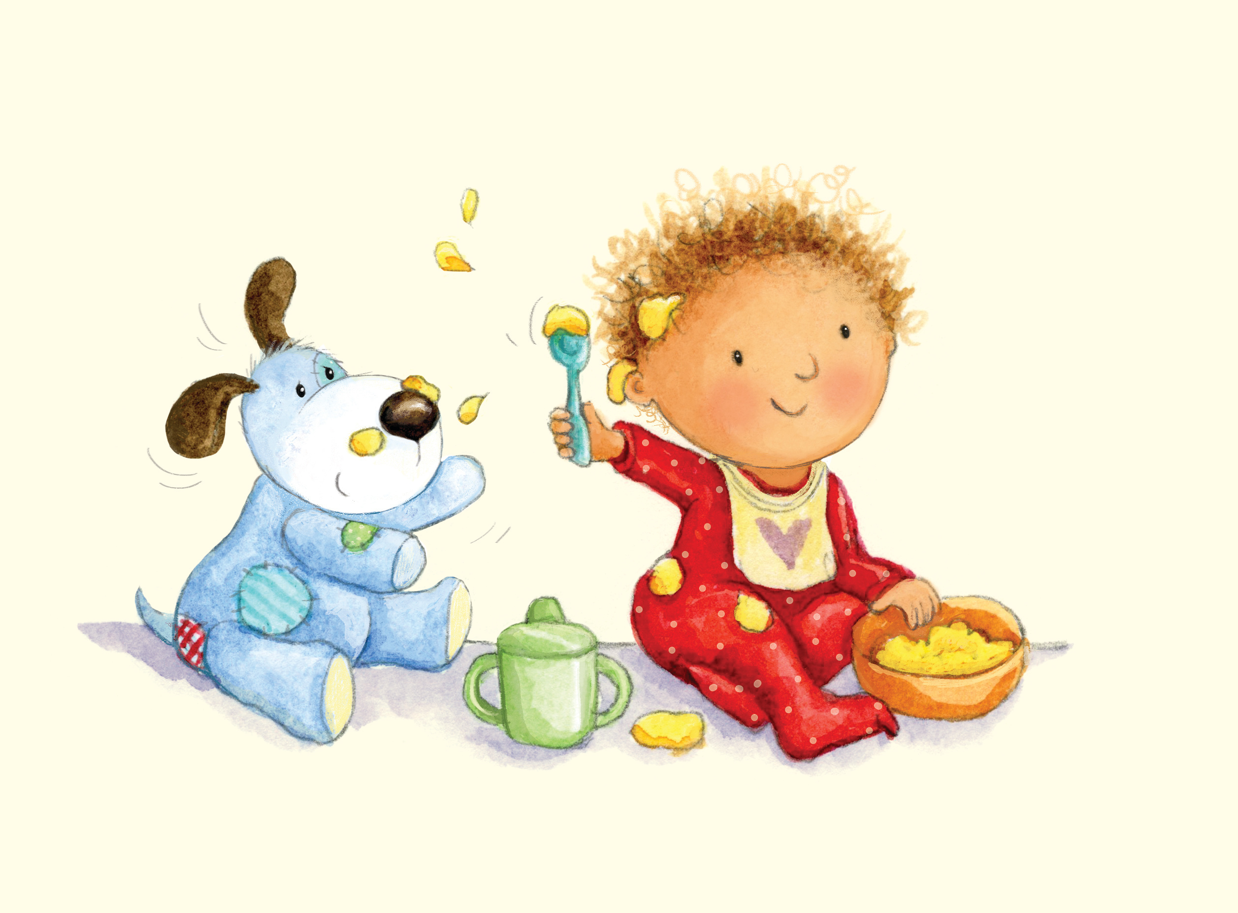 baby eating_illustration_gail yerrill