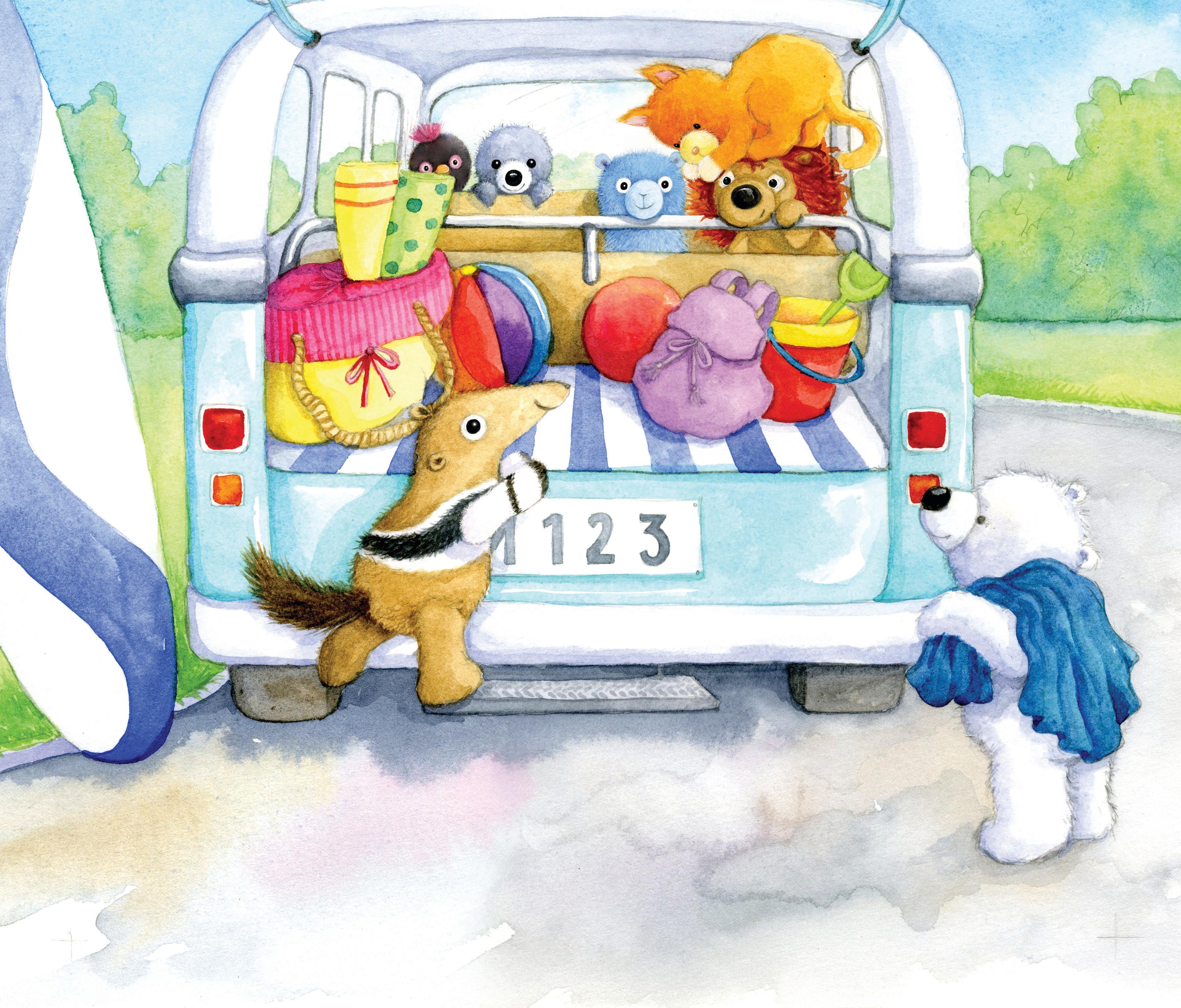 Soft toys going to the beach_campervan_gailyerrill_portfolio