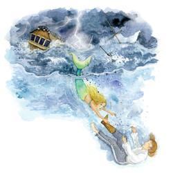 The Little Mermaid saving the Prince_Hans Christian Anderson_gail yerrill_portfolio