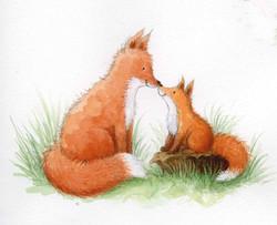 Mum and baby fox