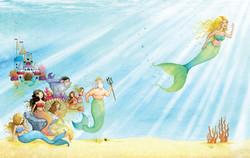 The little mermaid and sisters in underwater kingdom_portfolio_gailyerrill