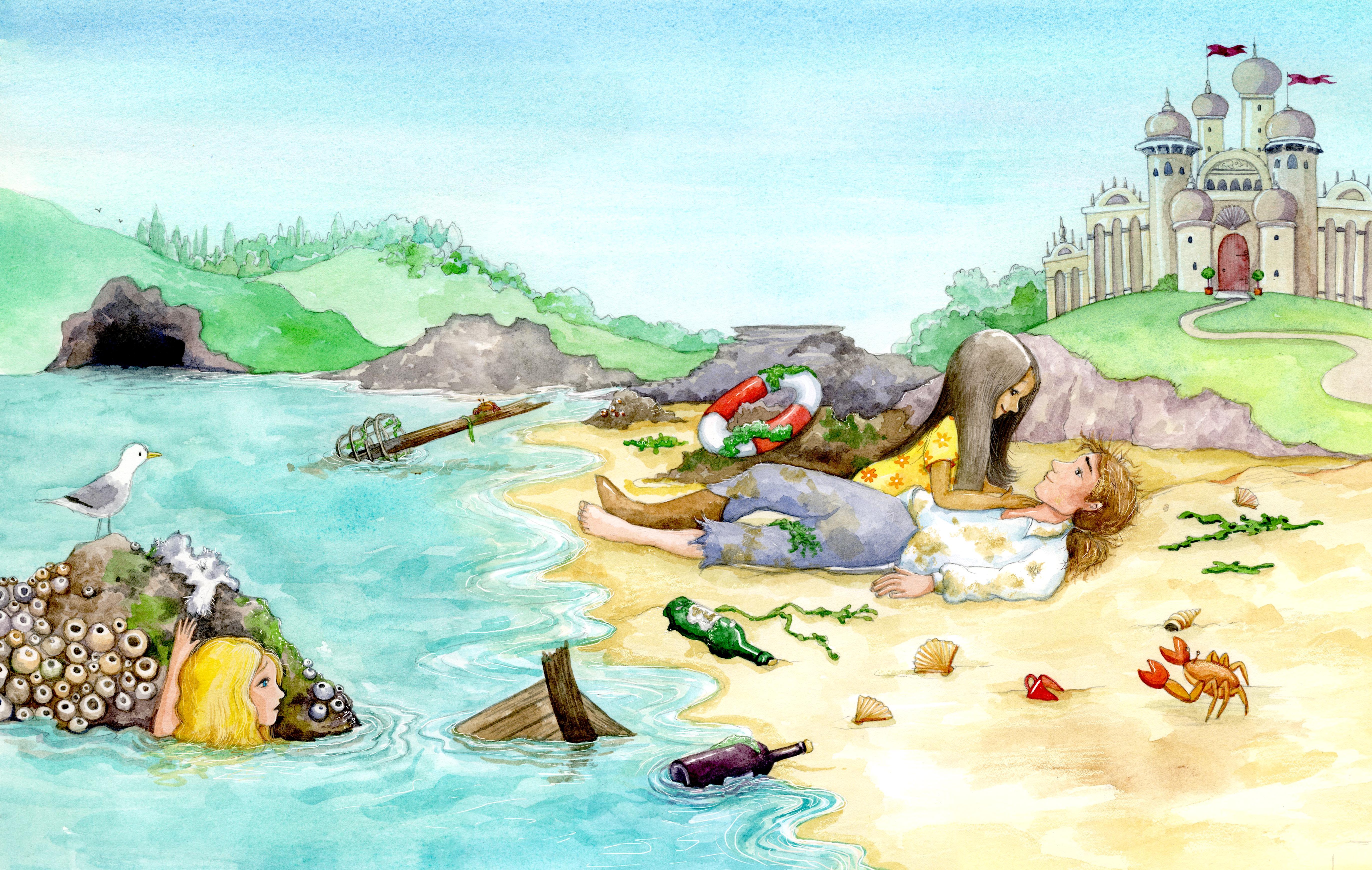 The Little Mermaid_seeing girl meet Prince_gail yerrill_portfolio