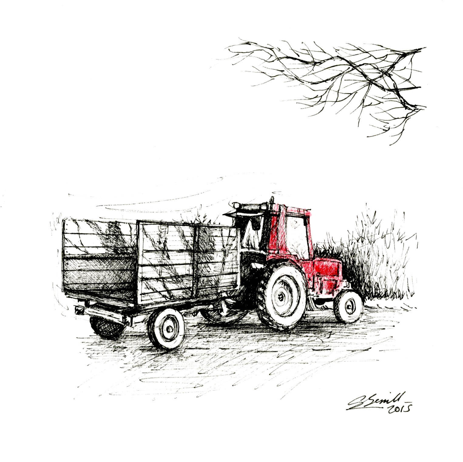 Red tractor_wood end_gail yerrill