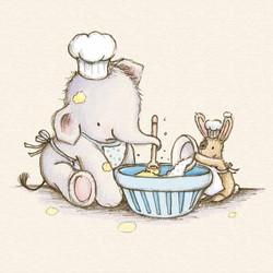 Elfump-and-Tickle_baking-a-cake_cute_gail-Yerrill