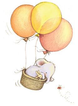 elefump in a balloon basket