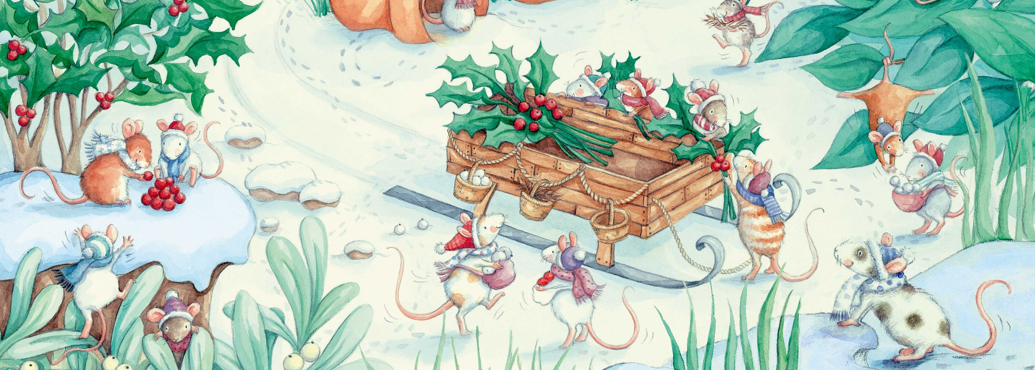 Mice collecting holly and berries christmas