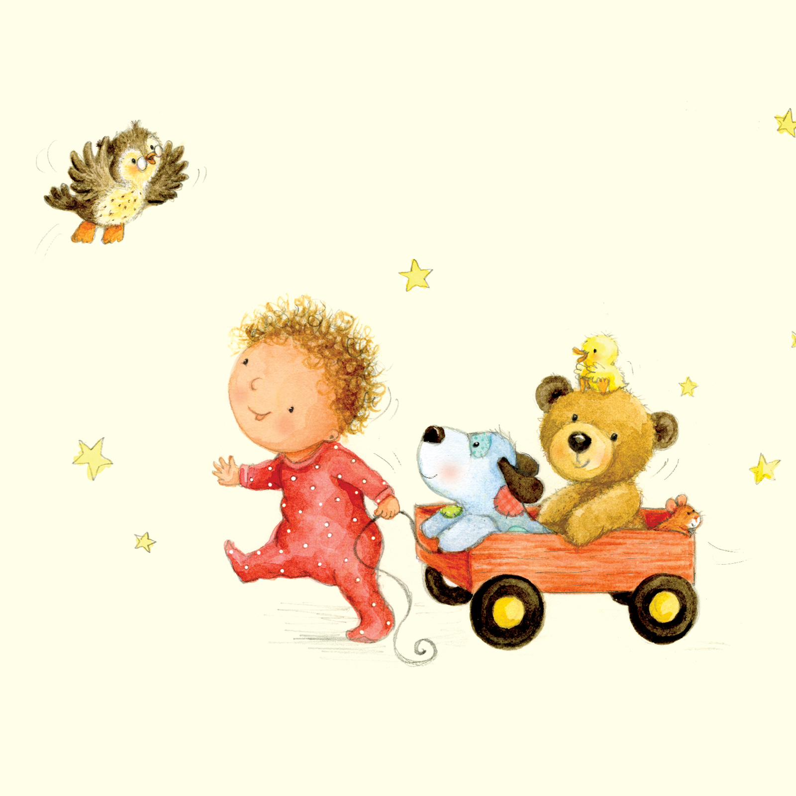 baby pulling cart_illustration_gail yerrill