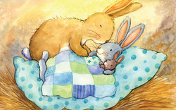 Mummy rabbit putting baby bunny to bed_gailyerrill_portfolio