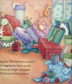 Mice playing in the presents