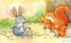 Rabbit sneezing with squirrells_gail yerrill_portfolio