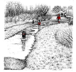 walking-the-dogs-in-Buttons-Ramsey_wood-end_gail-yerrill