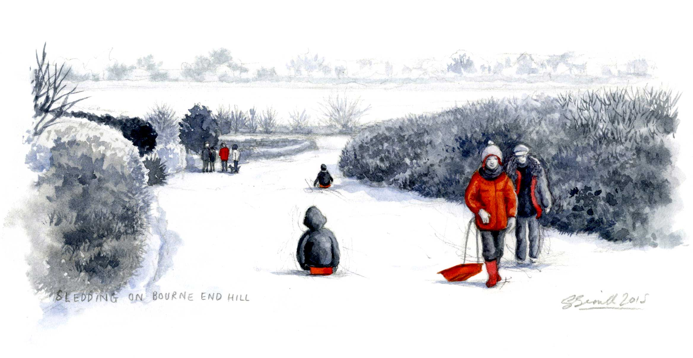 sledding-on-bourne-end-hill_wood-end_gail-yerrill