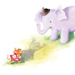 A friend for Mouse_portfolio_gail yerrill_mouse scaring elephant