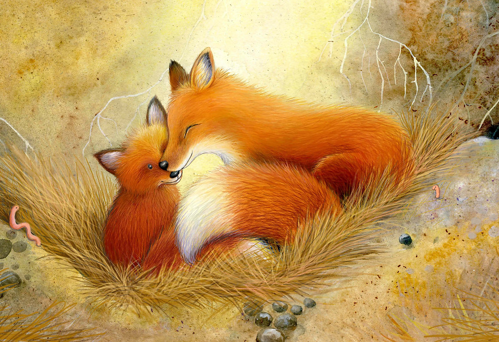 a fox cub and her daddy snuggled in their den illustration