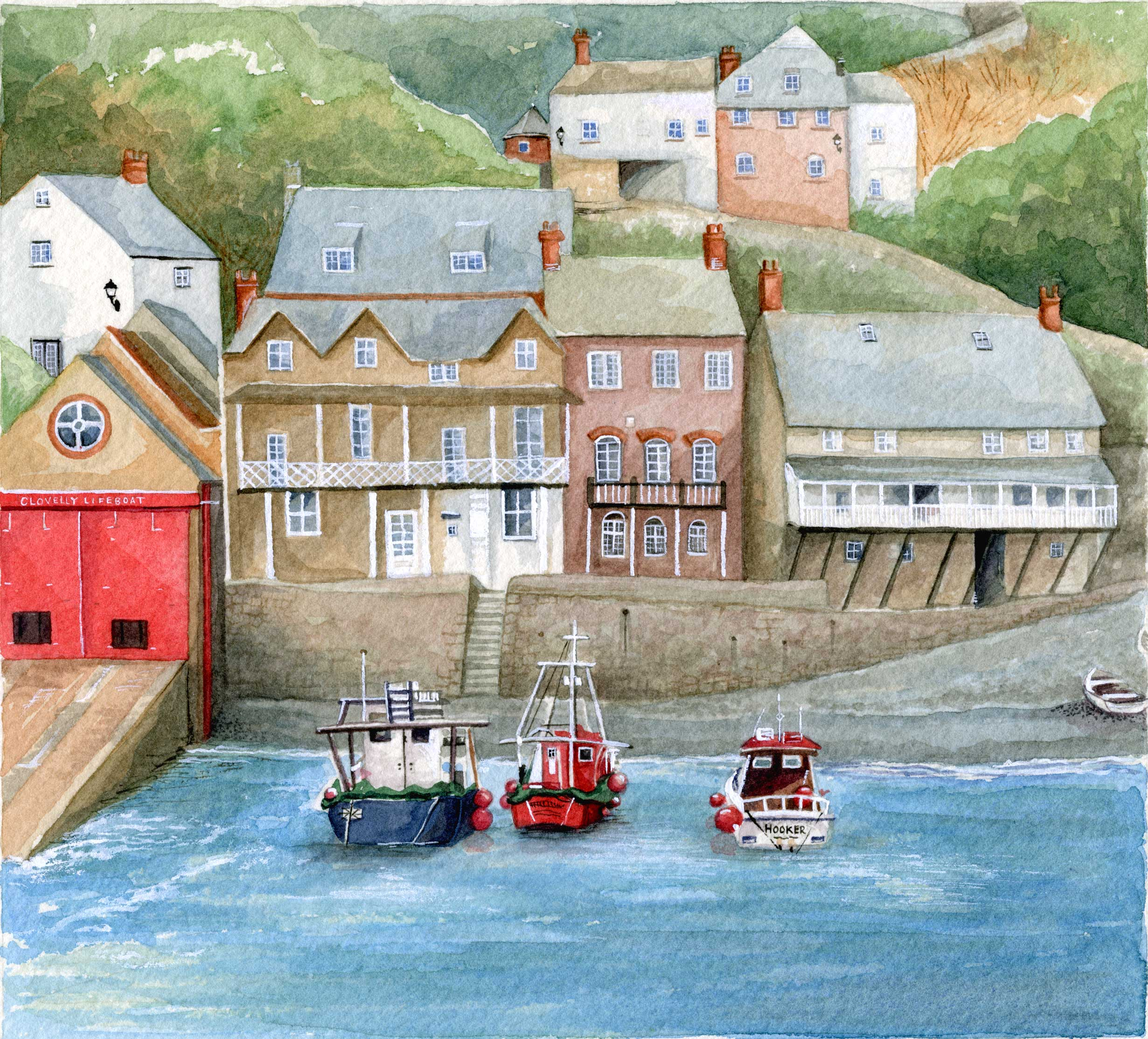 Clovelly-Harbour_watercolour-painting_gail-yerrill