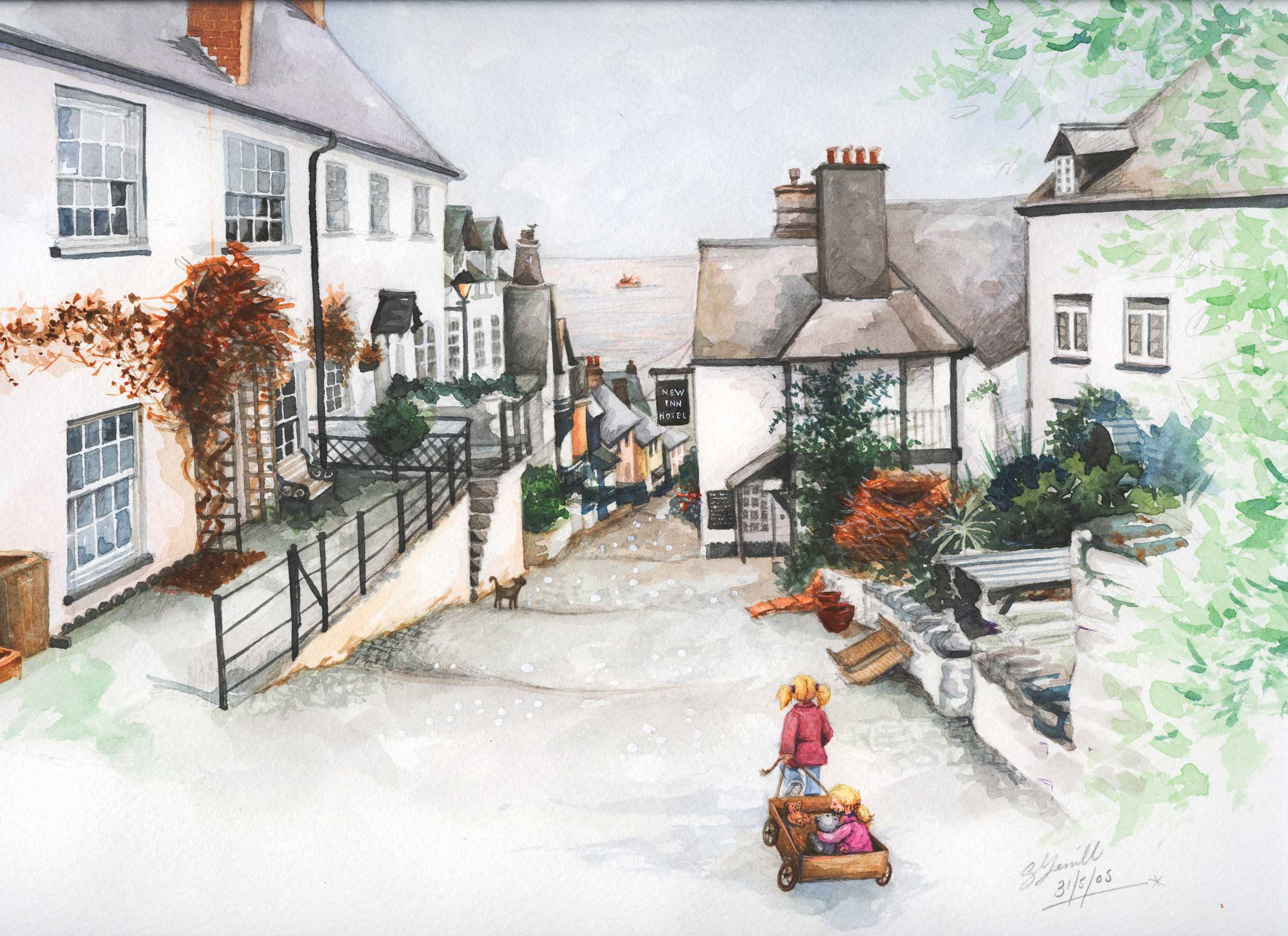 Clovelly-street-scene_watercolour-ainting_gail-yerrill