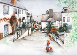 Clovelly-street-scene_watercolour-ainting_gail-yerrill