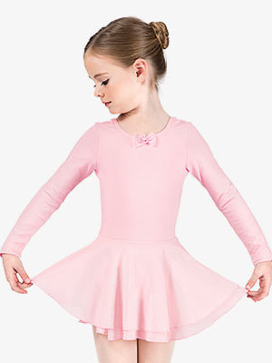 Pink Long Sleeve Leotard With Attached Skirt