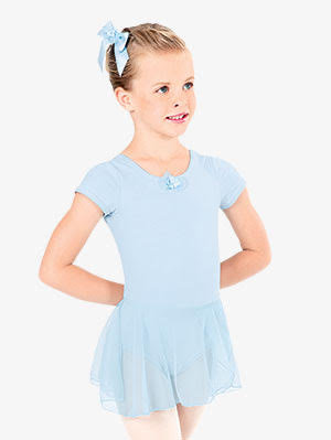 Short Sleeve Leotard With Attached Skirt