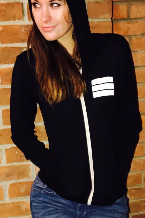black light weight unisex zip up hoodie with white logo