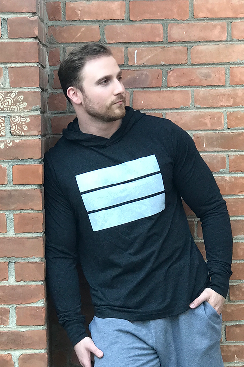charcoal grey unisex light weight hoodie with white logo