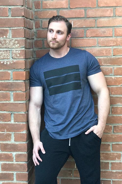 blue unisex t-shirt with black logo