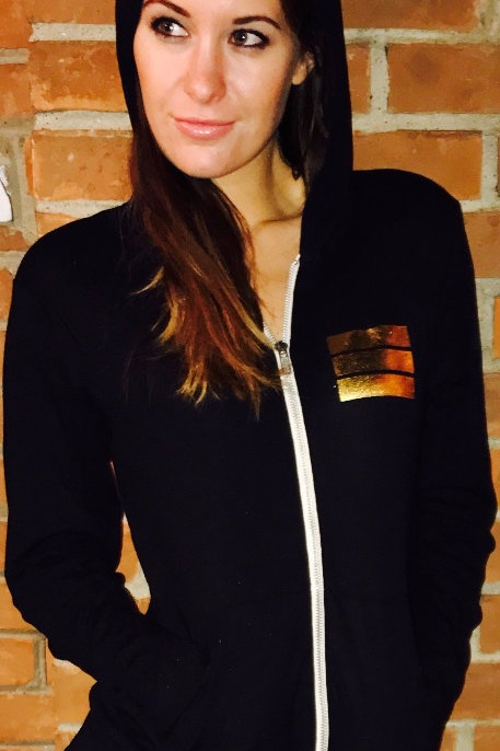 black light weight unisex zip up hoodie with gold logo