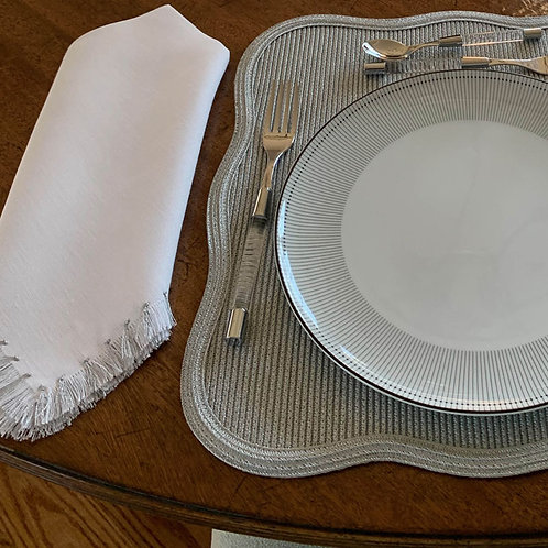 White Napkin with Silver Fringe