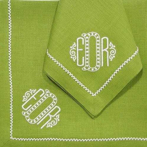 Green Monogrammed Napkins by Julian Meija