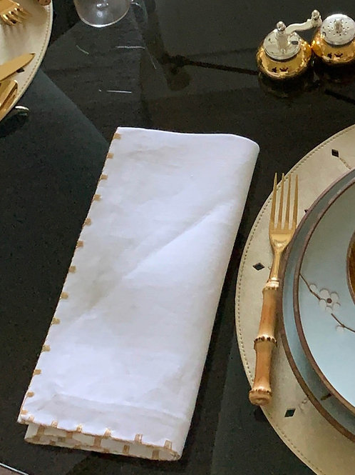 White Napkin With Gold Thread