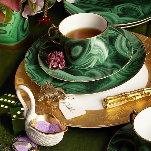 Malachite Cup and Saucer -Set of Two