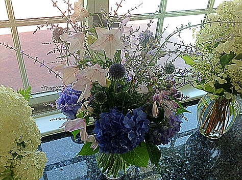 Vase of hydrangea, thistle and campanula