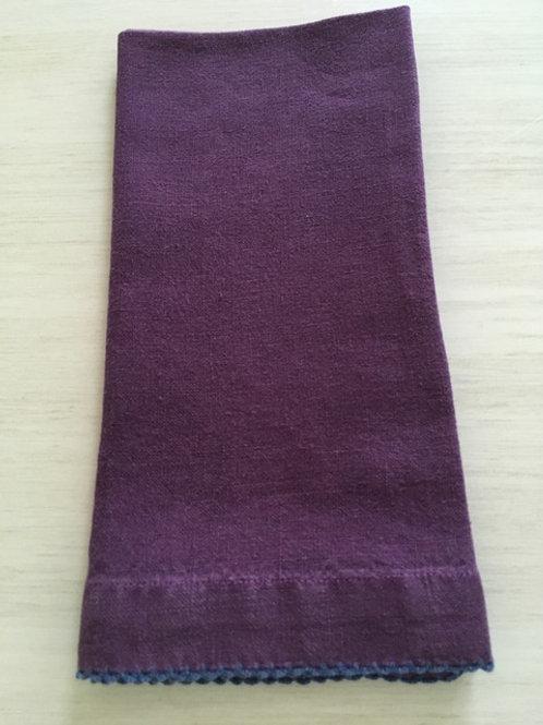 Purple Napkin with Blue Picot Stitching