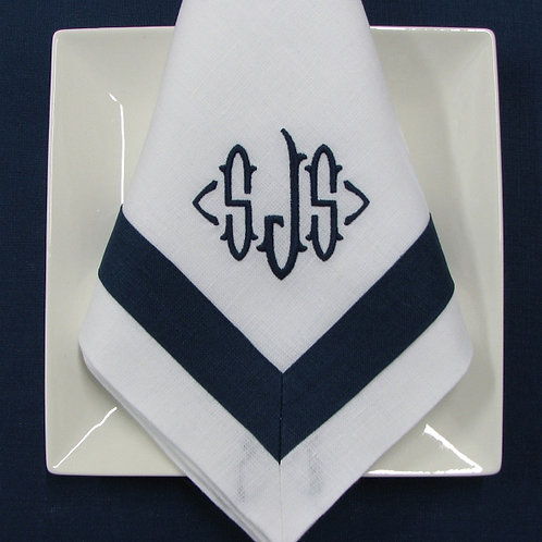 Navy and White Napkin, By Julian Mejia