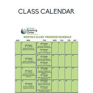 Parenting Class Calendar