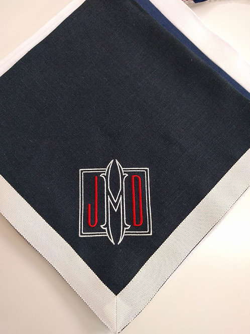 Monogrammed Navy and White Napkin by Julian Meija
