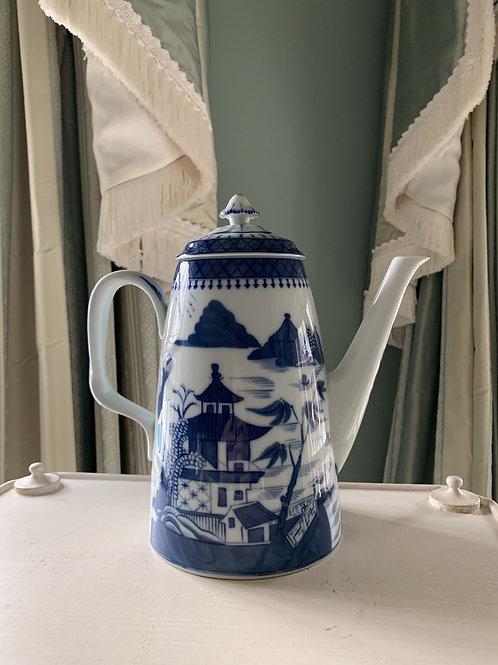 Blue Canton Coffee Pot