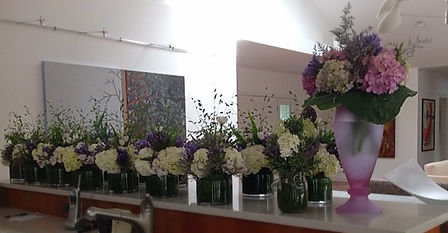 vases of cut flowers