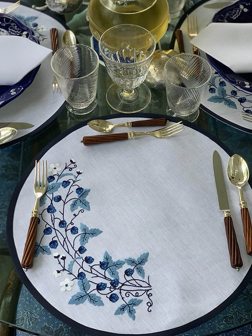 White Linen Placemat with Embroidered Blackberries