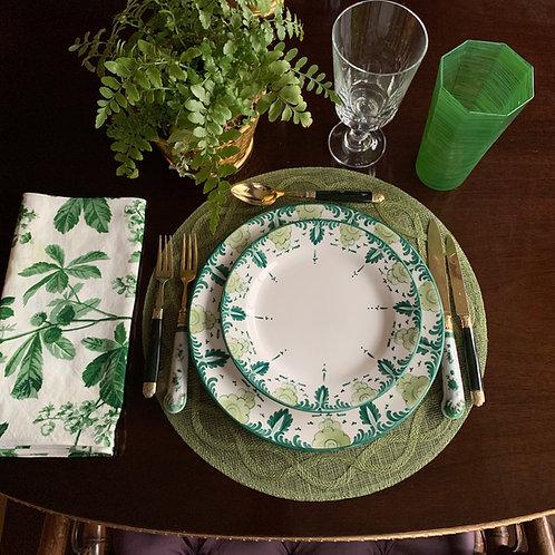 Palmetta Verde Porcelain Plates-Set of 2