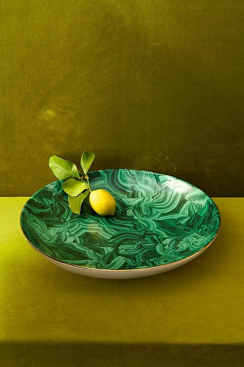 Malachite Round Platter by L'Objet