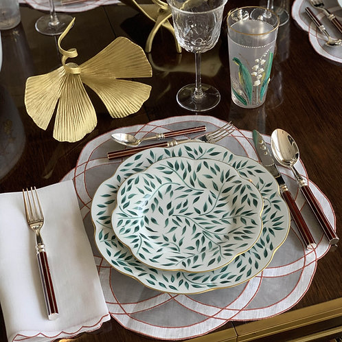 White Organza Placemat and Napkin Set with Terracotta Trim