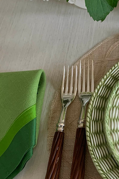 Green Napkin with Two-Tone Silk Border by Tina Chen