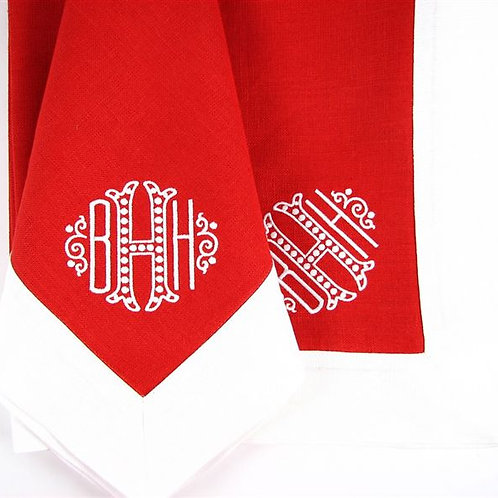 Red and White Monogrammed Napkin by Julian Meija