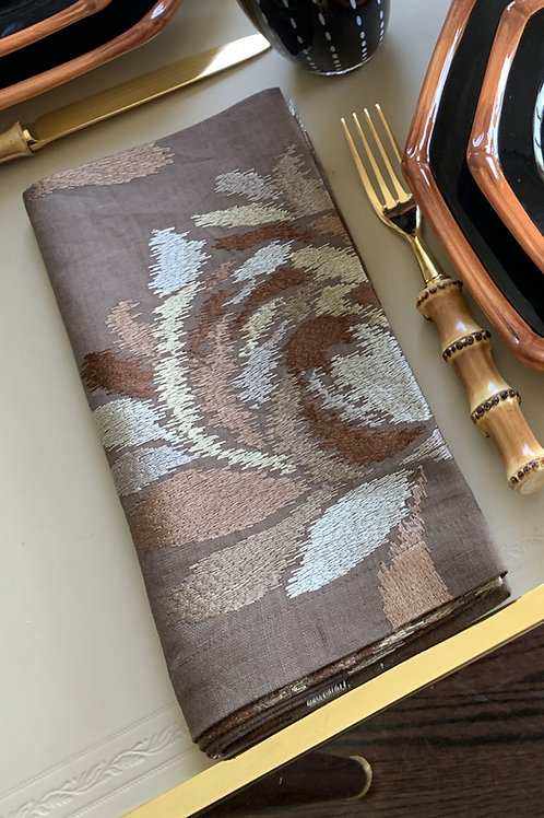 Brown Embroidered Napkin by Julian Mejia
